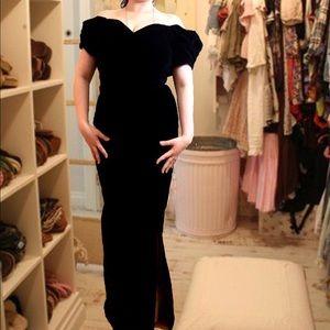 Vtg 80s velvet black long gown dress